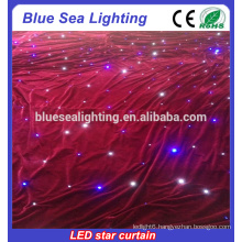 HOT fire retardant velvet LED star curtain/ led curtain wall/led theater curtain