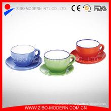 Vente en gros de thé et de soucoupe en céramique en grès coloré 9 oz