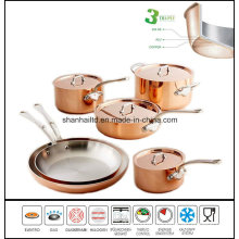 10PCS 3ply Copper Clad Body Cookware Set