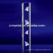 Cristal gravé par fleur de laser de K9 3D avec la forme de pilier