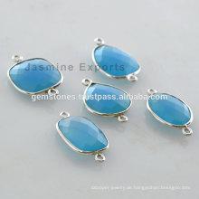 Großhandel natürliche blaue Chalcedon Edelstein Lünette Einstellung Steckverbinder Lieferanten und Hersteller
