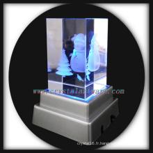 snowman crystal image personnalisée avec base led