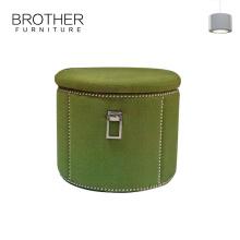 Pouf d'ottoman de stockage vert de tissu de Fordable pour la tapisserie d'ameublement de salon