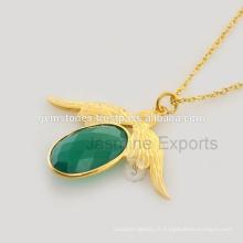 Green Onyx en or plaqué bijoux en argent pour l'approvisionnement en gros