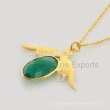 Onyx verde em jóias de prata banhado a ouro para fornecimento por atacado