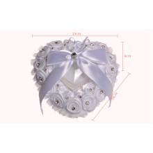 Flor en forma de corazón rebordear nupcial de la decoración del partido nupcial almohada portador del anillo
