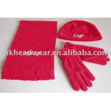 2013 nuevo conjunto polar polar del paño grueso y suave de la bufanda y de los guantes