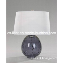 Modern Table Lamp with Black Galss Base+Fabric Shade