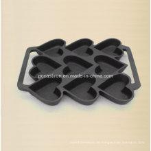 9PCS Preseasoned Gusseisen-Kuchen-Form Bakeware 24X19cm
