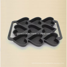 9PCS Preseasoned Cast Iron Cake Moule Bakeware 24X19cm