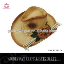 Chapeau de cow-boy en crochet en paille pour femmes avec fleur