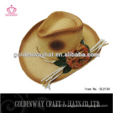 women's straw crochet cowboy hat with flower