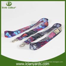 Poliéster material personalizado feito cordão impresso com gancho de metal para o festival