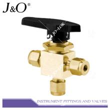 Brass Double Ferrule Tube Fitting Instrument Ball Valve