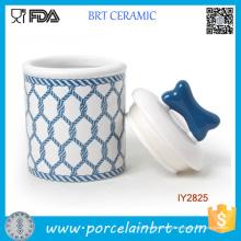 Heiße Marineblau-Entwurfs-Nahrungsmittelspeicher-keramische Haustier-Flasche