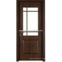 Puerta del baño del dormitorio del tocador del PVC de WPC con el diseño de cristal