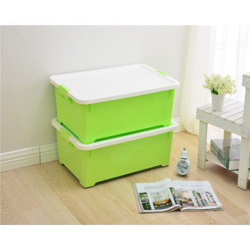 Plastic 35L Transparent Household Essentials Nested Storage Boxes with Lids And Sliding Wheels Stacking Box -Medium Size