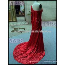 Gorgeous One Shoulder Sequins Red Long Robe de soirée avec Side Slit Long Tain Women Special Occasion Dress