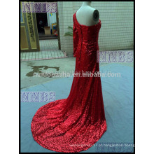 Gorgeous One Shoulder Sequins Red Long Evening Dress com Side Slit Long Tain Mulheres vestido de ocasião especial