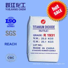 Excellente résistance au teinture Dioxyde de titane Rutile pour plastiques, céramiques et papier (R1931)