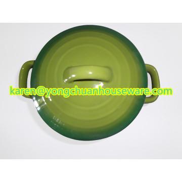 Cacerola redonda de cerámica con color azul de la tapa