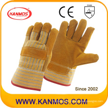 "9.5"" Full Palm Industrial Safety Yellow Cowhide Leather Work Gloves (11006)"