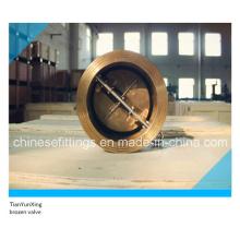 Válvula de retención de bronce doble / doble disco con muelle