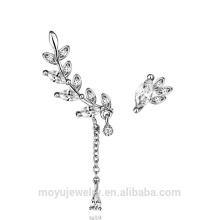925 Sterling Silber koreanischen Design 2 verschiedene Seiten Blätter Bolzen Ohrringe