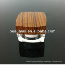 5g 15g 30g 50g 100g acabado de madera cosméticos jarra de acrílico