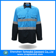 Wholesale Breathable Blue Reflective 100 Cotton Work Shirts