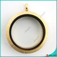 Aço inoxidável brilho medalhão de ouro colar (fl16041807)