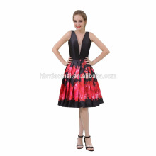 Custom Made Latest Elegant Deep V Neck Black With Flower Evening Dinner Dress