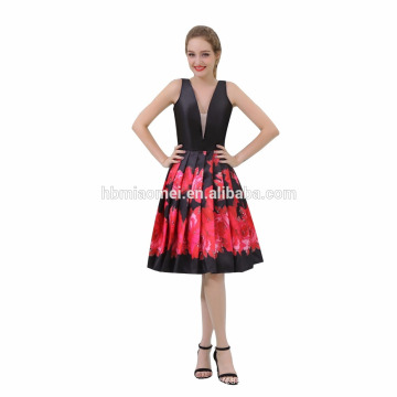 Nach Maß spätestes elegantes tiefes V-Hals-Schwarzes mit Blumen-Abend-Abendessen-Kleid