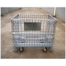 Recipiente de malha de arame de armazenamento com roda