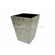 White capiz shell handmade waste bin in China