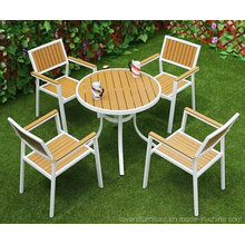 Modern European Powder Coated Patio Table and White Stack Restaurant Chairs Metal Aluminum Garden Furniture