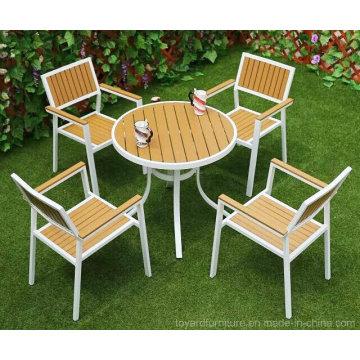 Moderne europäische Pulver beschichtete Patio Tisch und weiße Stapel Restaurant Stühle Metall Aluminium Gartenmöbel