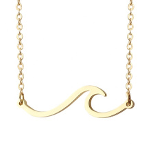 Pretty Ocean Sea Wave Round Pendant Gold Chain Sweater Simple Necklace