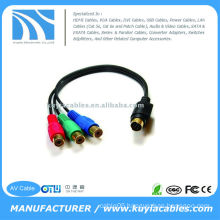 Convert 7 Pin S-video Male to 3 RCA AV Cable RGB Female and Connect Laptop/notebook to HDTV, DVD receiver, or projector
