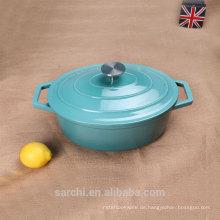 Gusseisen Emaille überdachte Kasserolle Kochen Schale, blau