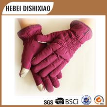 Senhoras moda pele de carneiro luvas de inverno luva de tela de toque lã forro