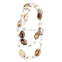 Collier de chaîne de perles d'argile à la mode Collier de chaîne de chandail