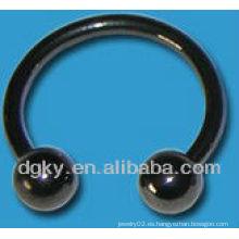 Joyería circular de los barbells del calibrador negro de 2m m 16g