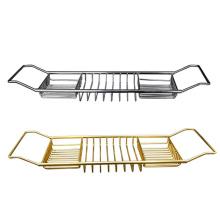 2021 Luxury gold bathtub bathroom caddy rack wire tray stainless steel tray for the bathtub