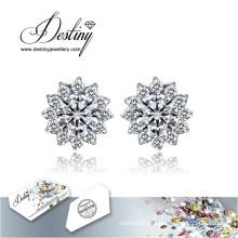 Destino joias cristais de Swarovski brincos brincos de floco de neve novo