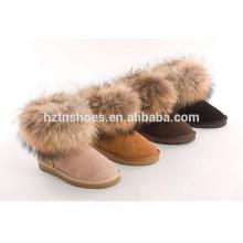 Senhoras botas plano botas inverno tornozelo boot com pele para as mulheres