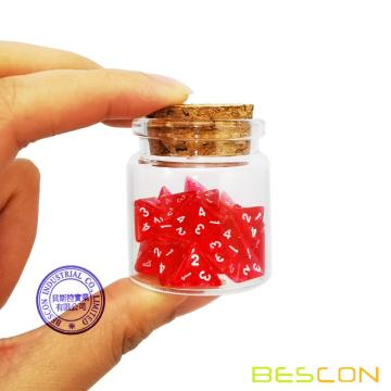 Bescon Mini Transparent Red D4 Dice 30pcs Bouteille de potion de guérison, 30pcs Roleplaying Mini Red Gem D4 Dice Healing Potion Pack