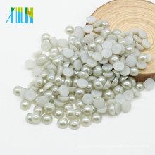 Perlas de media perlas de ventas de fábrica perlas redondas planas para accesorios de ropa, gris Z35-Lt.Silver