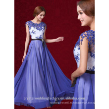 Alibaba Elegant Long Nouveau Designer Cap SLeeve Blue Color Chiffon Beach Lace Robes de soirée ou Robe de demoiselle d'honneur LE26