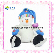 White Smiling Plush Skating Snowman Christmas Toy (XDT-0187)